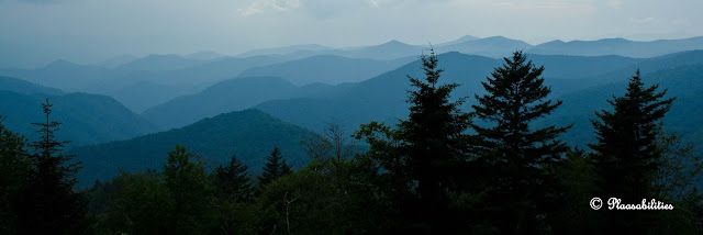 A dark, cloudy evening at the Caney Fork Overlook, Blue Ridge Parkway MM 428 ©2013 Kristina Plaas, All Rights Reserved