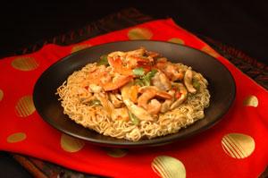 ... Noodles with Shrimp - symbolize long life (don't cut the noodles