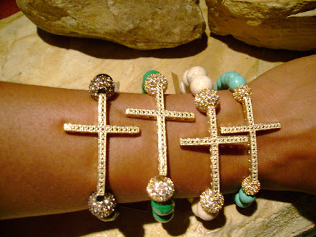 Crystal Cross & Pandora Bead Bracelet w/matching earrings.