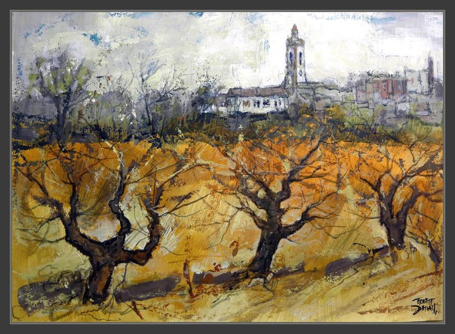 CASTELLVI DE LA MARCA-LA MUNIA-PINTURA-PENEDÈS-VINYES-PAISATGES-VI-CATALUNYA--ART-QUADRES-PINTOR-ERNEST DESCALS-