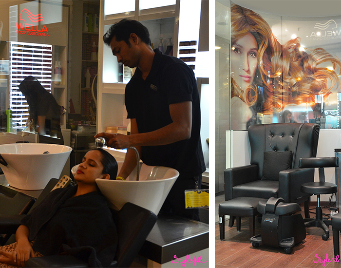 Dayle Pereira, blogger at Style File India gets a hair wash for her treatment in the salon section at Jean Claude Biguine salon
