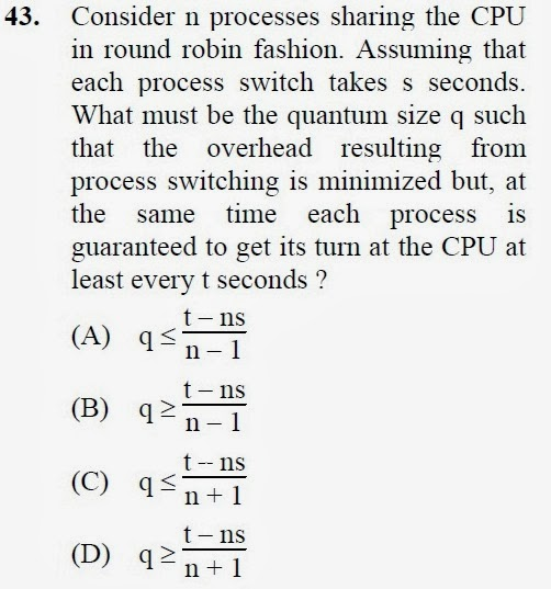2012 December UGC NET in Computer Science and Applications, Paper III, Question 43