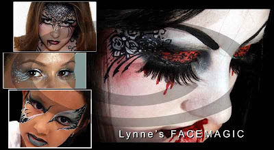 Melbourne face painter sample of glamour face and eye designs. From detailed to simple swirls