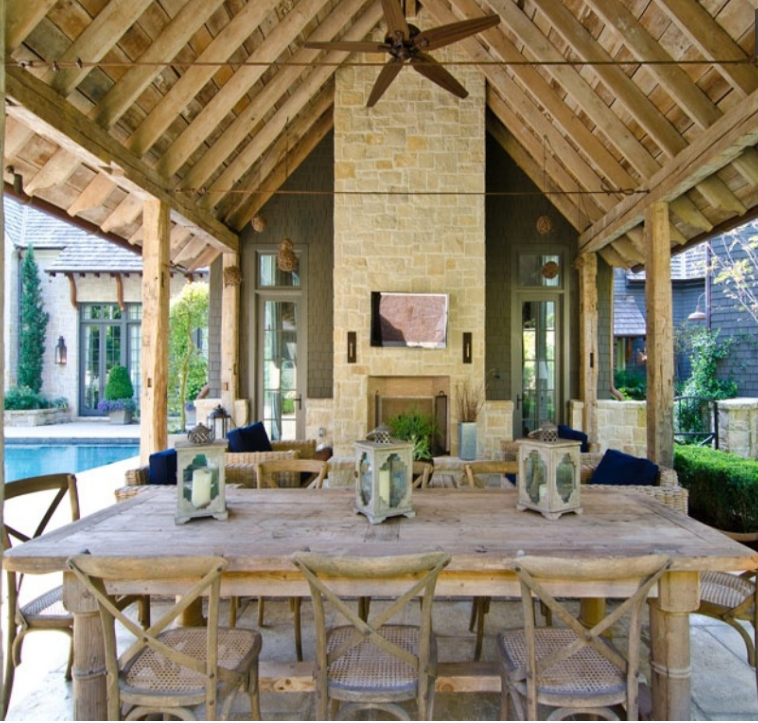 For This Porch Ceiling, Wood Allowed The Rustic Natural Feeling The  Homeowner Desired