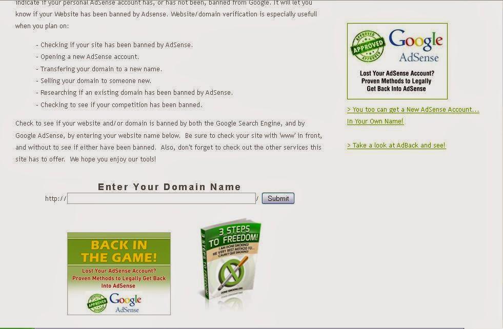 Blog Adsense Banned, Banned Check