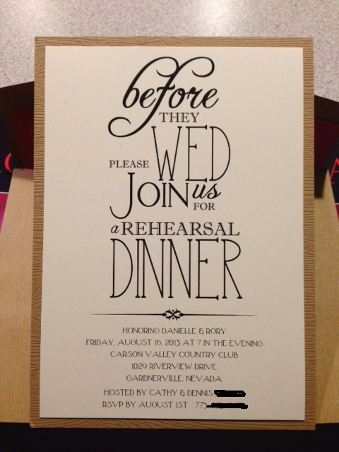 Sparkles and Lattes: Rehearsal Dinner Invite Reveal