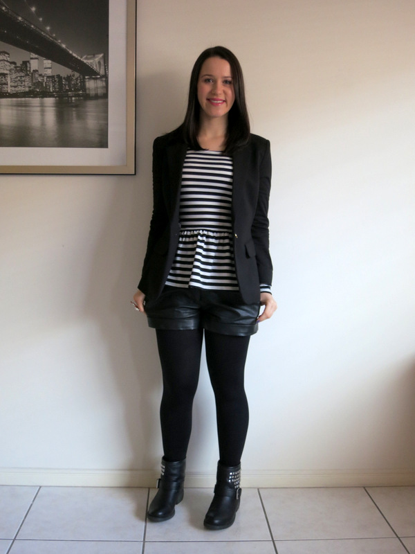 Leather shorts, striped peplum top, shorts and tights, motorcycle boots, petite shorts, black blazer, peplum top and shorts