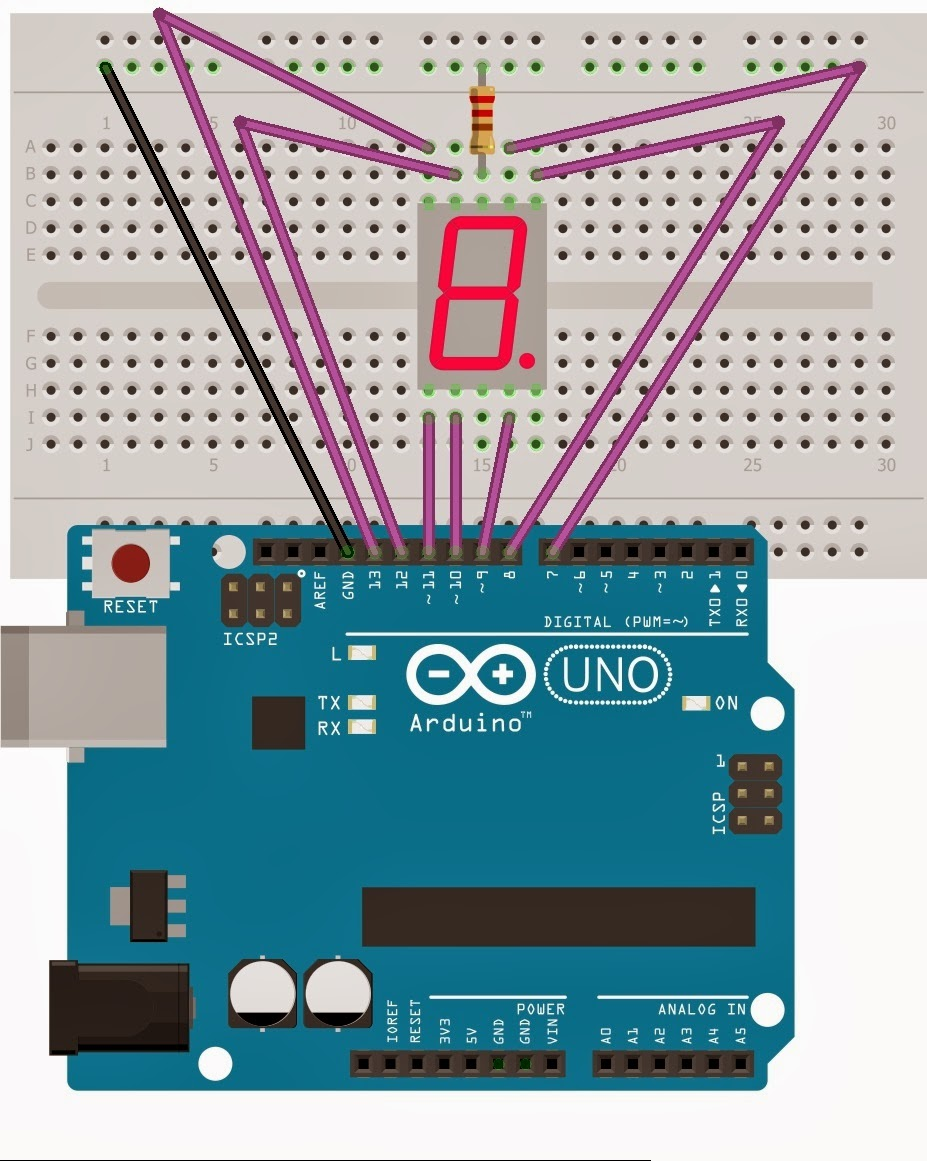 Drive a 7-Segment LED with an Arduino Make