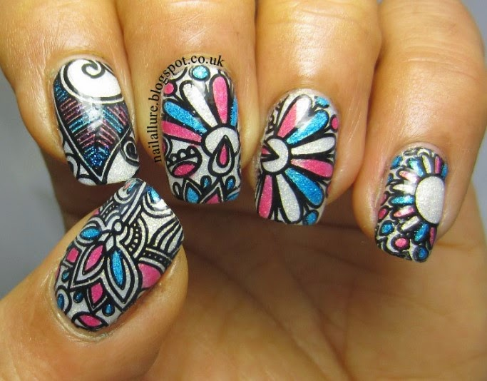 Colourful Leadlight Stamping Manicure