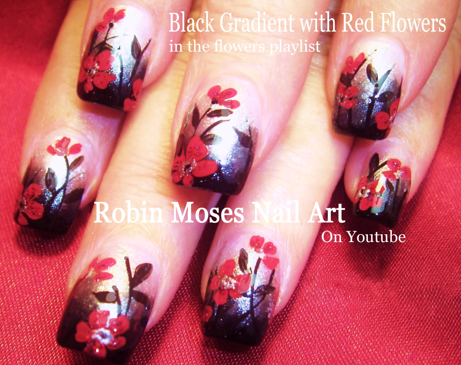 Robin moses nail art diy fall nails red flowers on black and flower nails playlist easy floral nail art flower nail tutorials for beginners advanced nail techs prinsesfo Images