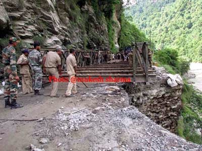 Bailey bridge at Likhubhir constructed by GREF restored traffic