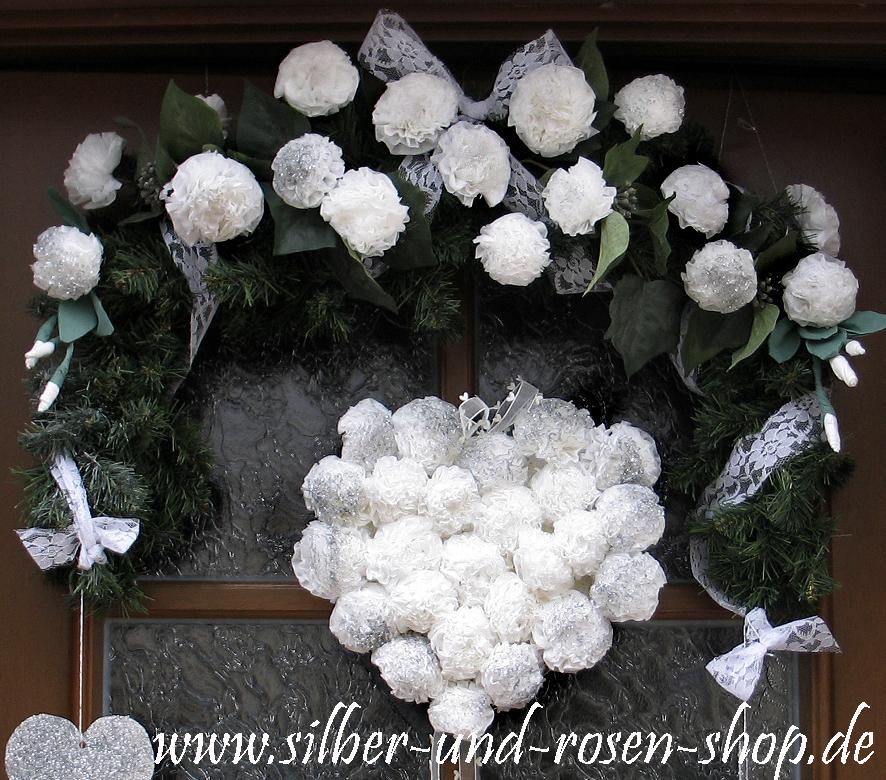 silber rosen t rschmuck f r ein gro es fest door decor. Black Bedroom Furniture Sets. Home Design Ideas