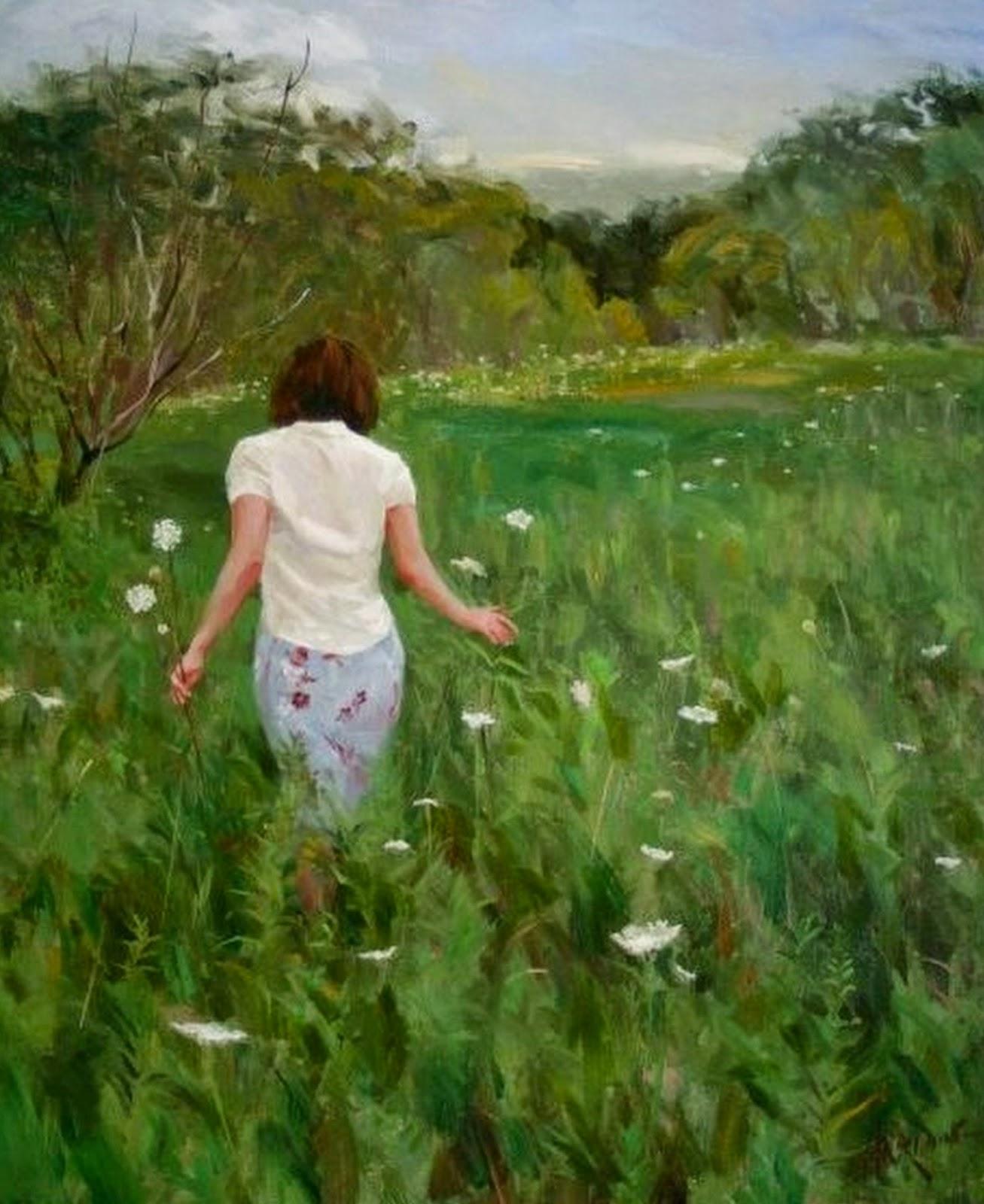 Cuadros pinturas oleos pinturas al oleo de mujeres en for Cuadros para el jardin