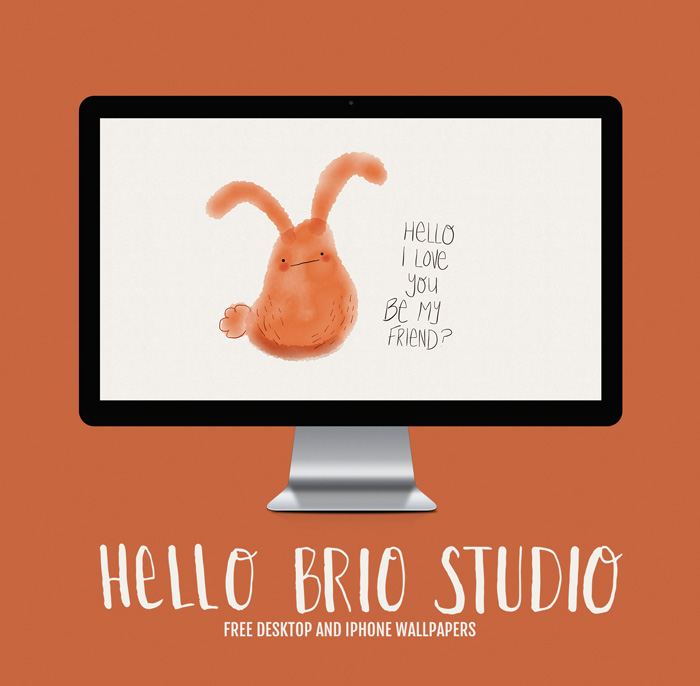 Free Doodled Bunny Wallpaper Backgrounds for Desktop and iPhone - HelloBrio.com