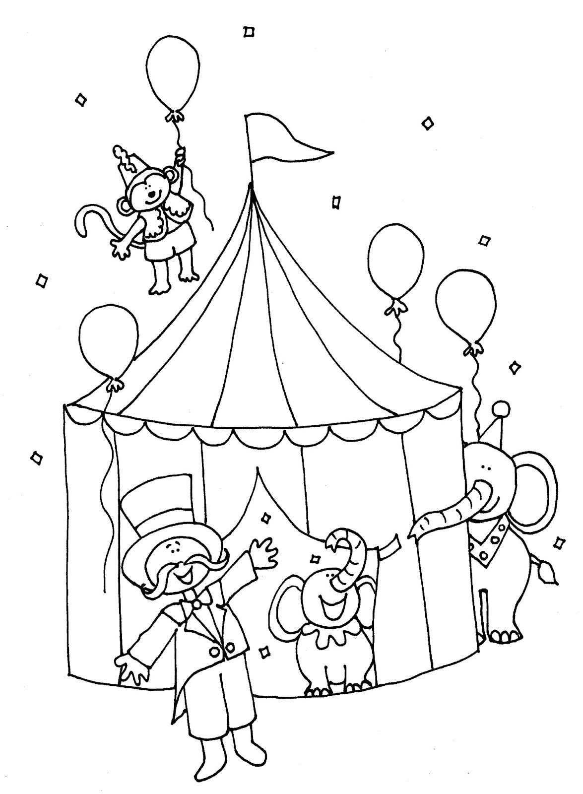 Free dearie dolls digi stamps big top circus color and b w for Carnival themed coloring pages