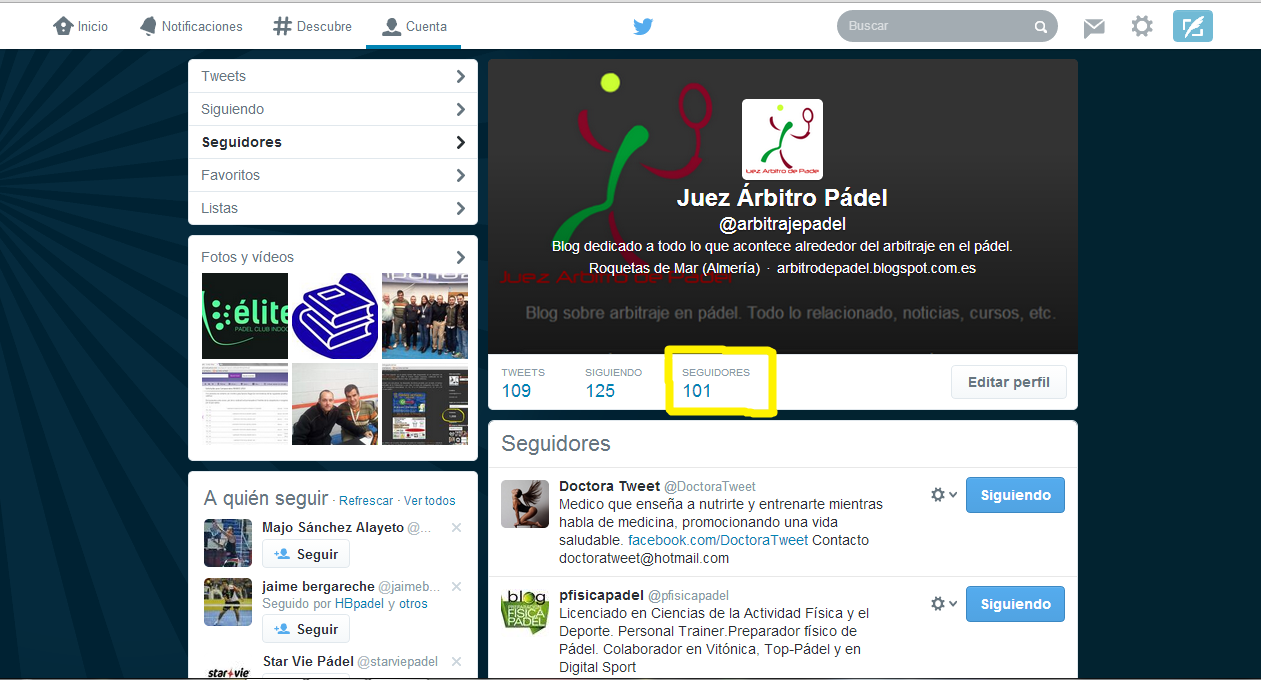 Captura de pantalla destacando los 100 seguidores en twitter