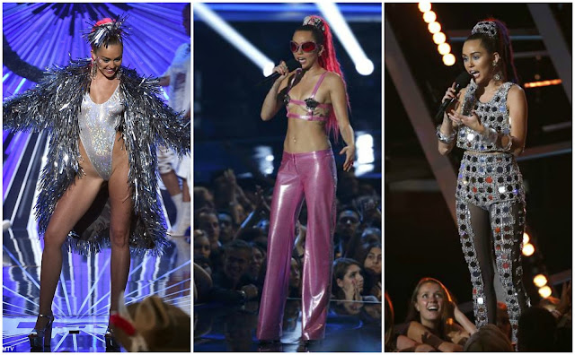 miley cyrus vmas 2015 on stage performance outfit costume disco pink silver bodysuit