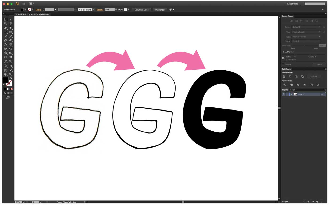 Vectorize your letters and glyphs in Illustrator using Image Trace