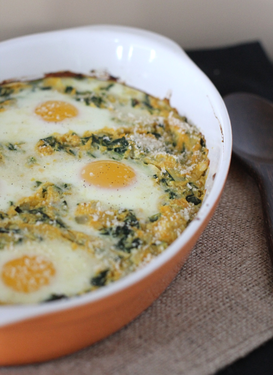 Baked Eggs with Pumpkin and Greens Recipe | Fake Food Free