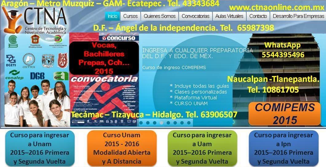 Curso de ingreso Comipems 2015, Ingreso al Ipn, Cecyt, Vocacional, Prepas UNAM, CCH, Bachilleres...