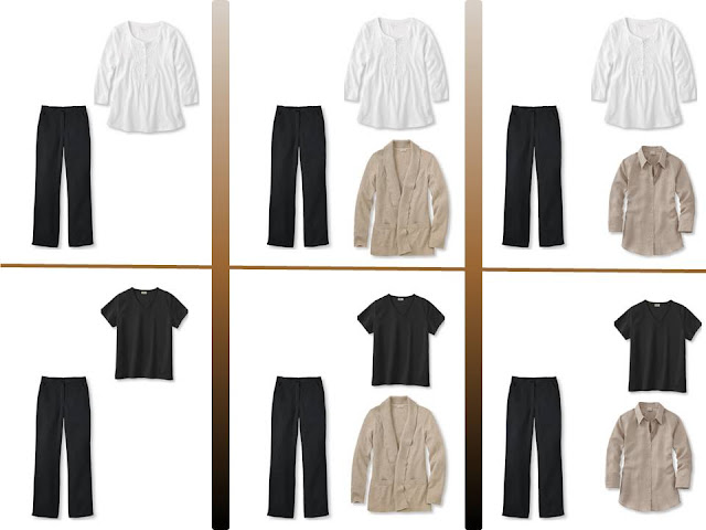 """six outfits with black pants and """"Whatever's Clean"""" for summer"""