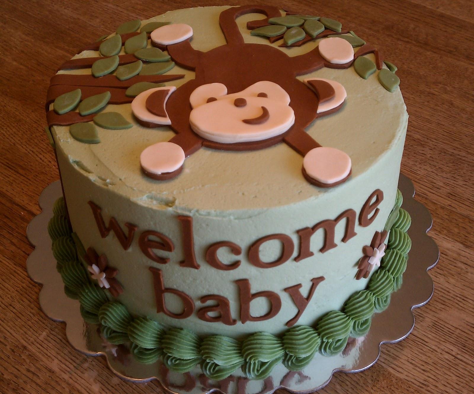 Baby shower cakes on pinterest baby boy cakes baby boy shower and monkey baby showers - Baby shower cakes monkey theme ...
