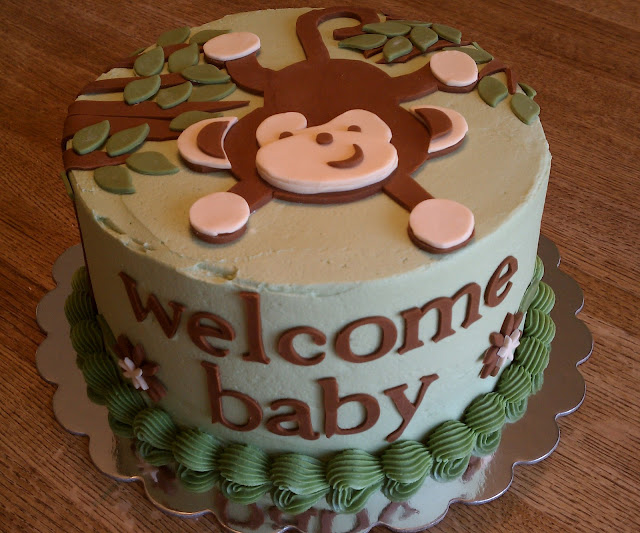 Simply sweet monkey baby shower cake - Baby shower monkey theme cakes ...