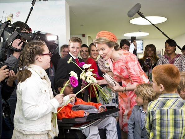 Queen Mathilde of Belgium attended the inauguration of the maternity and children's wing at the Universitair Ziekenhuis Antwerpen (UZA) hospital