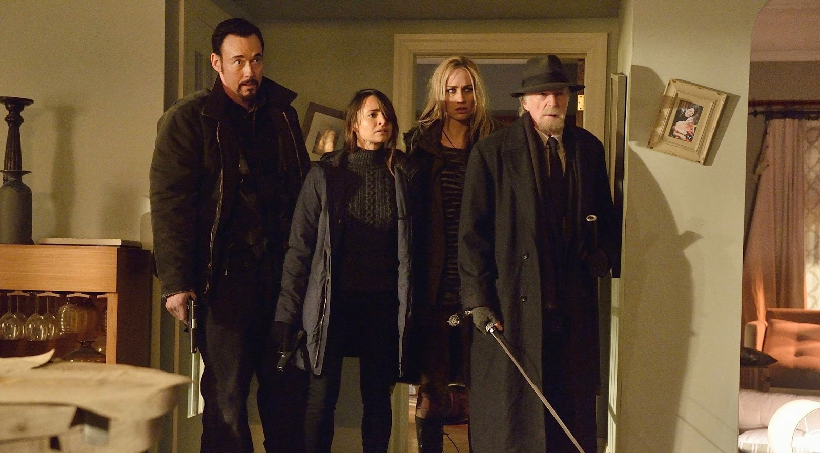 Kevin Durand, Mia Maestro, Ruta Gedmintas and David Bradley as Vasiliy Fet, Dr Nora Martinez, Dutch Velders and Abraham Setrakian in FX The Strain Episode 9 The Disappeared