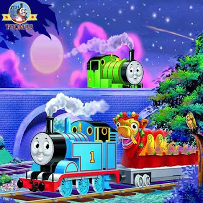 16 piece jigsaw Thomas and friends games online puzzle train Percy and the dragon picture for kids