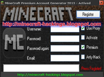 MineCraft Premium Account Generator 2013