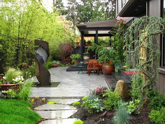 Gardening in backyard patio