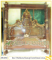 Tempat Tidur Kanopi Ukiran Inul Mahkota Kombinasi emas Jakarta
