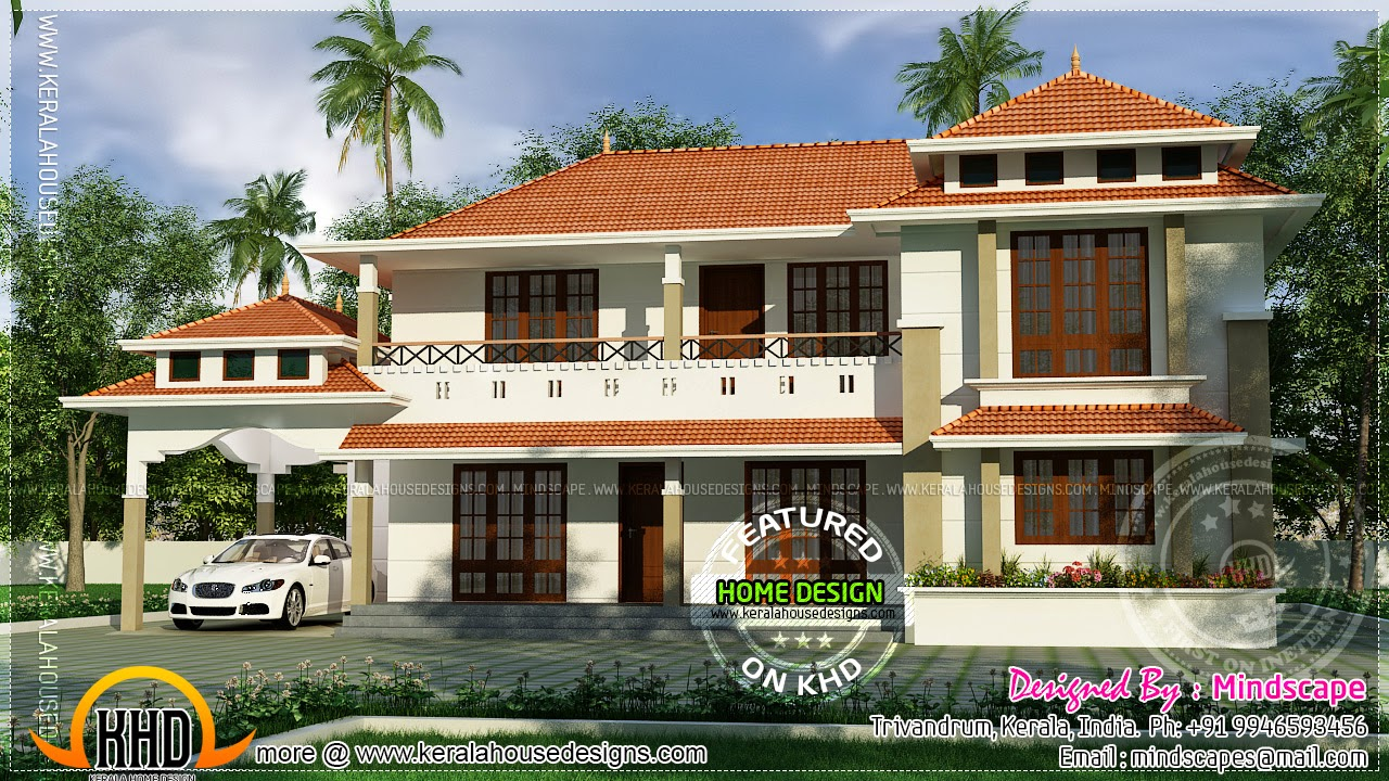 255 square meter house with free floor plan kerala home for Free kerala house plans