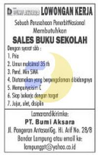 Lowongan Kerja PT. Bumi Aksara Lampung