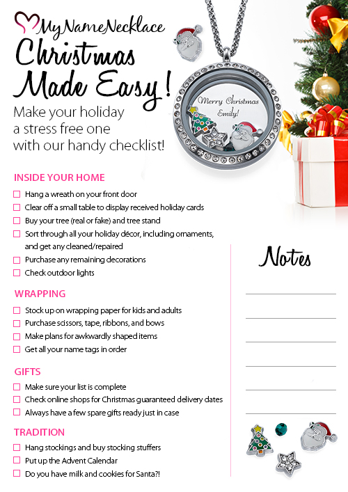 MyNameNecklace Christmas Preparation Checklist