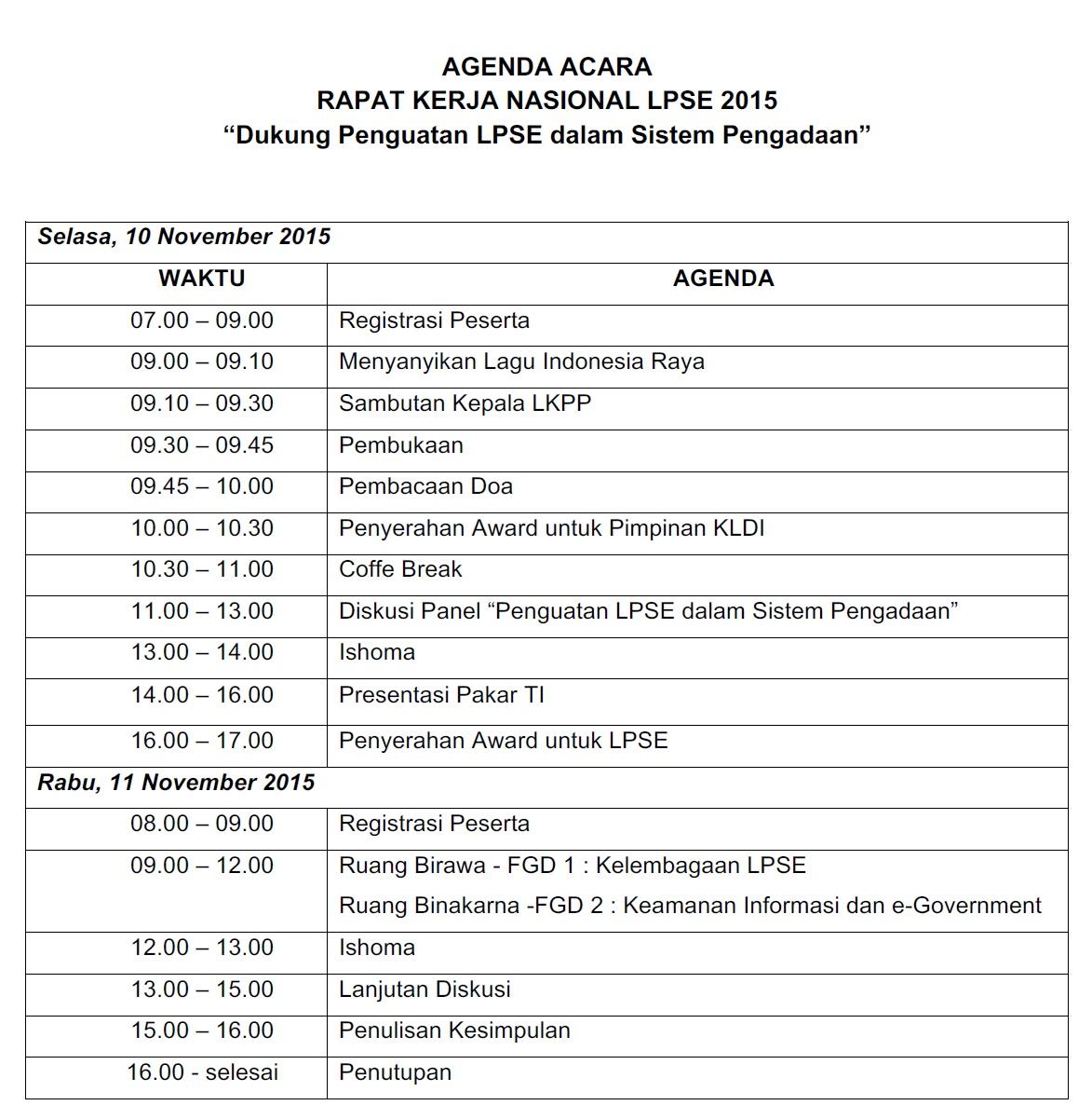 Undangan Rapat Kerja Nasional Lpse 2015 Seluruh Indonesia