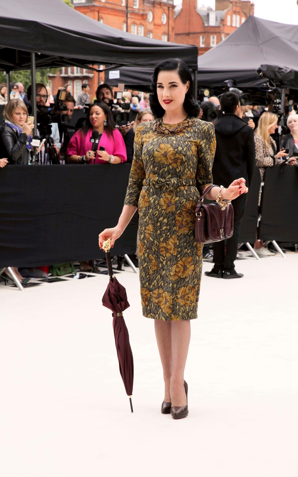 dita von teese, burberry dress