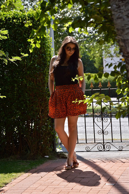 Orange Biba Shorts, Leopard