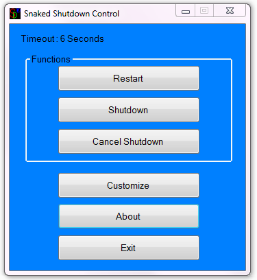 Snaked Shutdown Control - Get control over windows shutdown routines - Main window screenshot