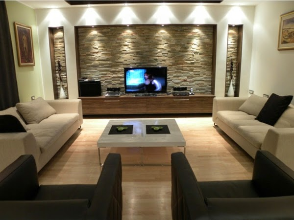 Modern Ceiling Lights In TV Wall In Ultra Modern Living Room Part 40