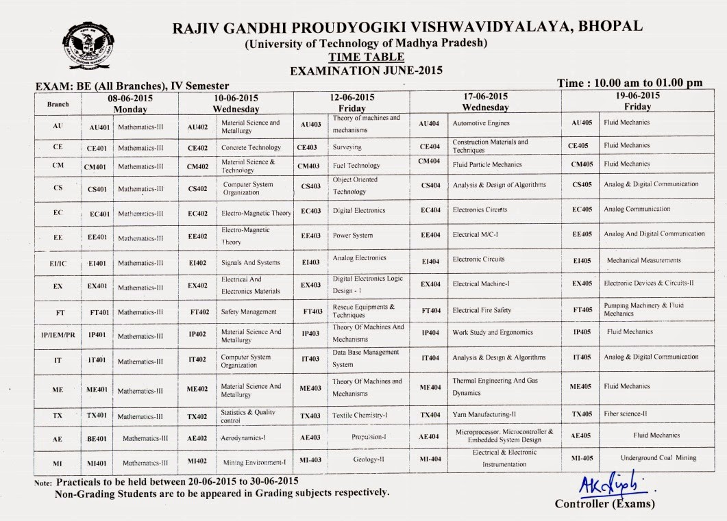 rgpv b e 4th sem grading exam time table 2015 rgpv
