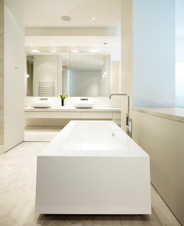 White modern bathtub in the bathroom