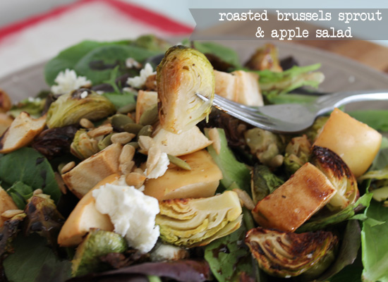 Roasted Brussels Sprout and Apple Salad {serves two}