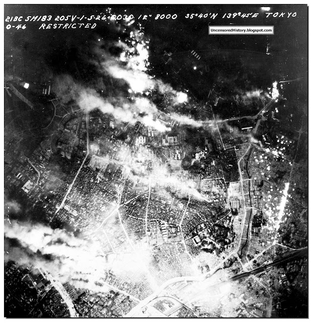 Aerial view night allied bombing Tokyo