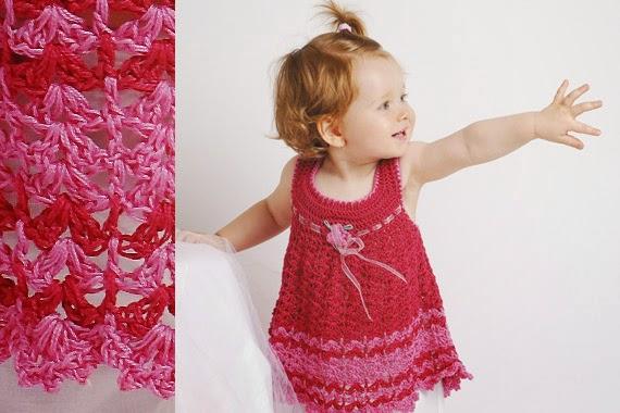 Vestido de Bebe Fucsia a Crochet