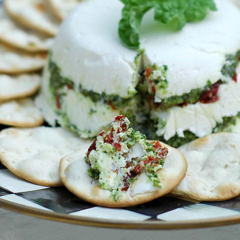 Basil Pesto and Cheese Strata
