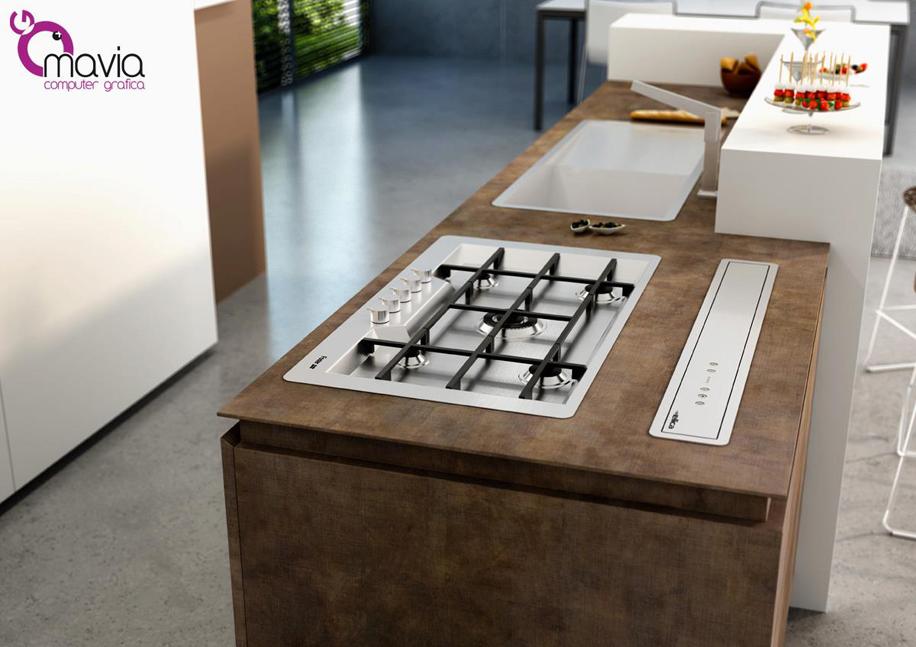 Arredamento di interni render 3d cucine moderne for Cucine con piano cottura centrale