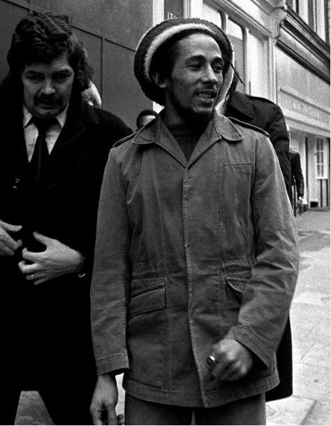 Reggae singer Bob Marley arriving at London's Marylebone Magistrates Court charged with cannabis possession (1976)