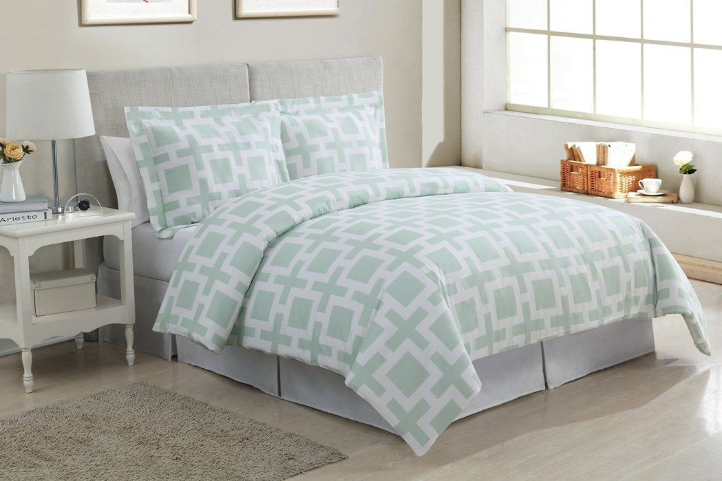 Alive & Breezy Cool Mint Colored Bedding and forter Sets